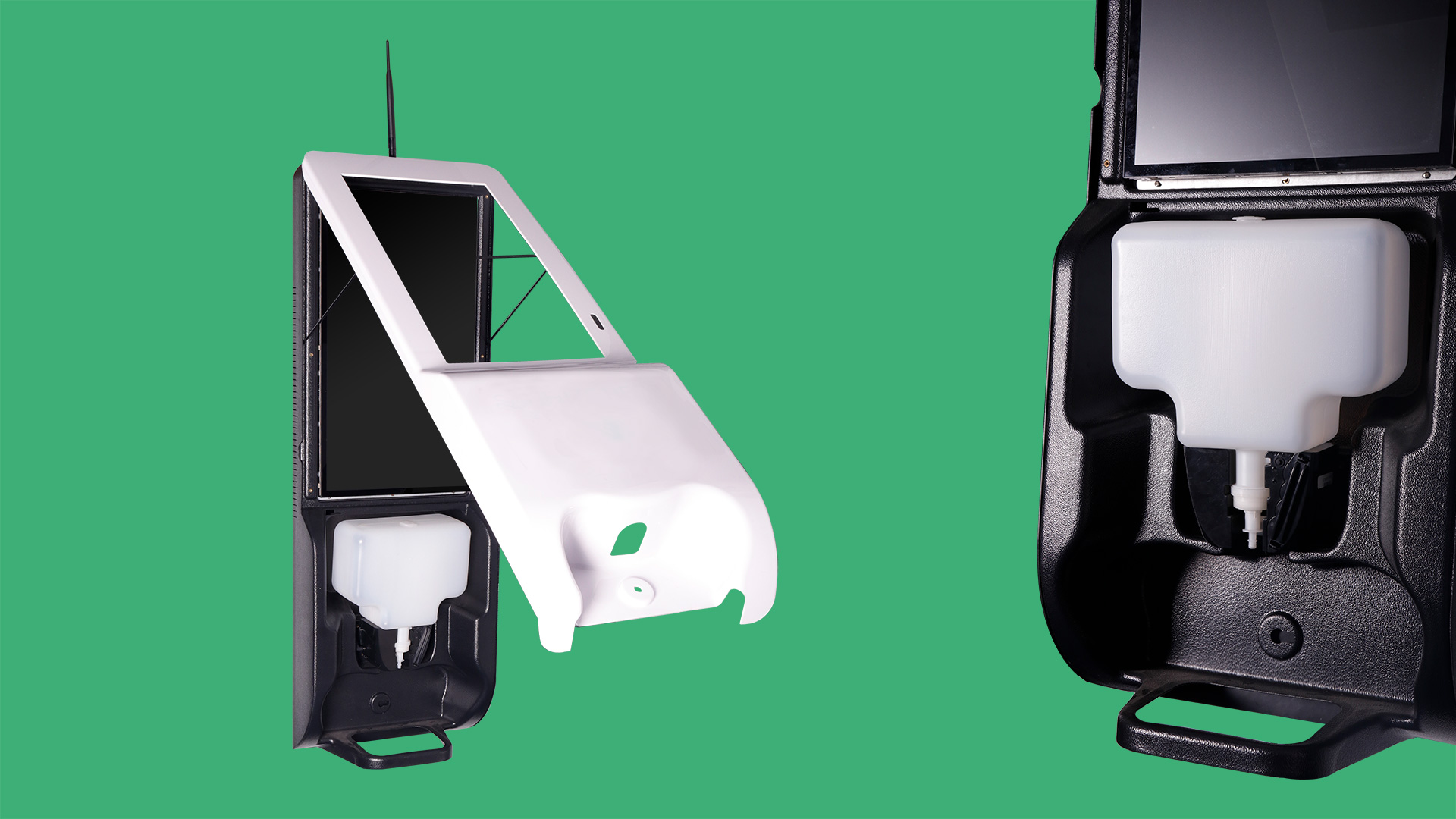 Hand sanitising machine with screen – plastic housing afbeelding